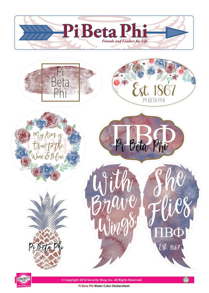 Water Color Stickersheet - Pi Beta Phi