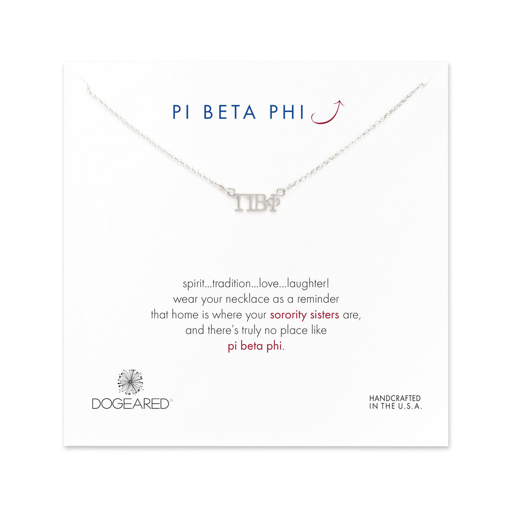 Dogeared Silver Letter Necklace - Pi Beta Phi