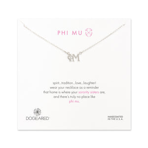 Dogeared Silver Letter Necklace - Phi Mu