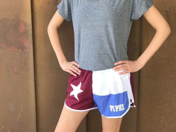 Texas Flag Sorority Shorts - Pi Beta Phi