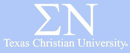 White TCU Car Decal - Sigma Nu