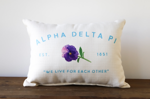 Sorority Name and Flower Pillow