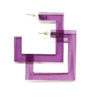 Lucite Square Hoop Earring