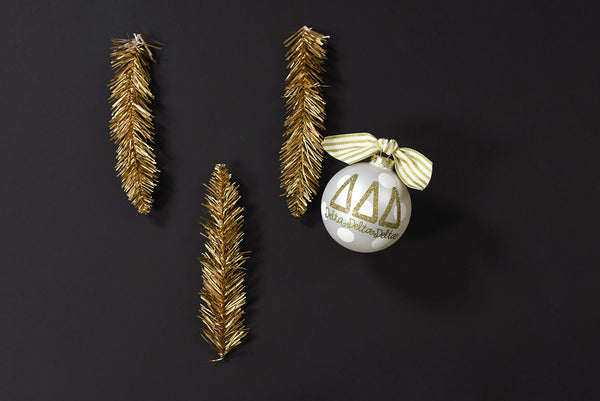 Gold and White Ornament - Delta Delta Delta