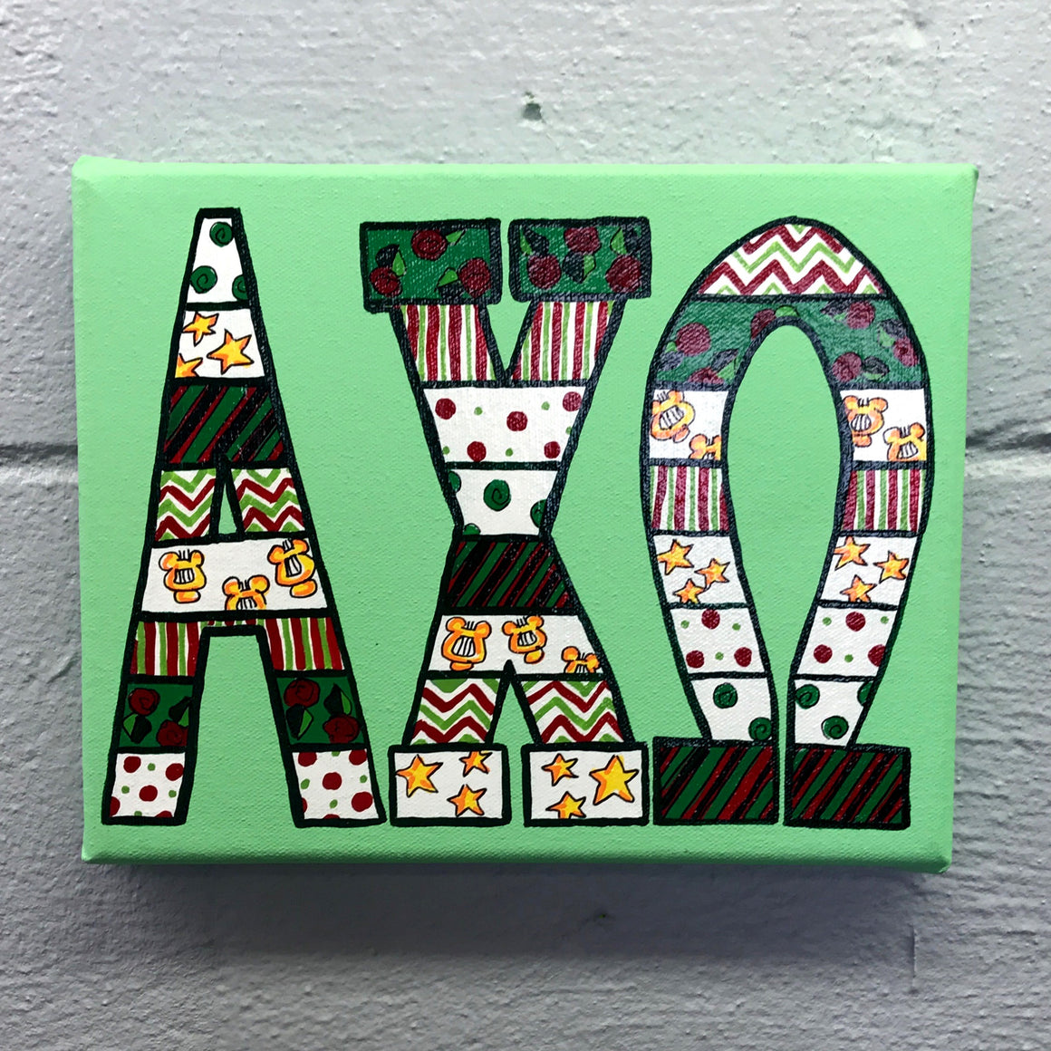 Tribal Painted Canvas - Alpha Chi Omega