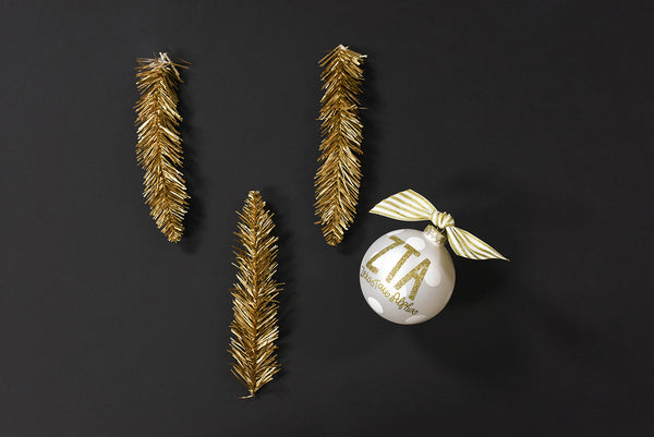 Gold and White Ornament - Zeta Tau Alpha