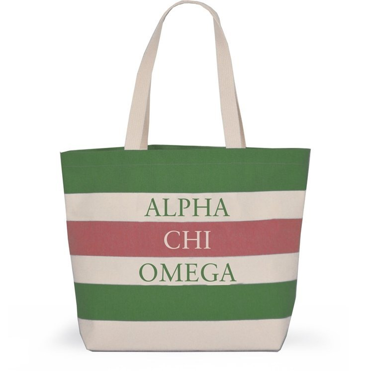 Striped Sorority Tote - Alpha Chi Omega