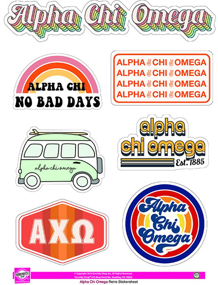 Retro Sticker Sheet - Alpha Chi Omega