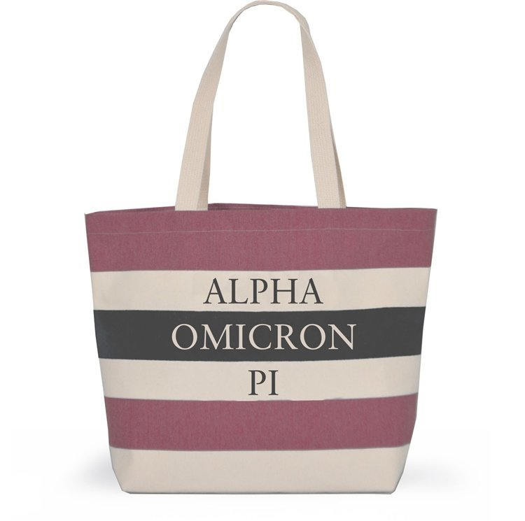 Striped Sorority Tote - Alpha Omicron Pi