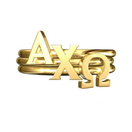 Greek Letter Stack Rings - Alpha Chi Omega