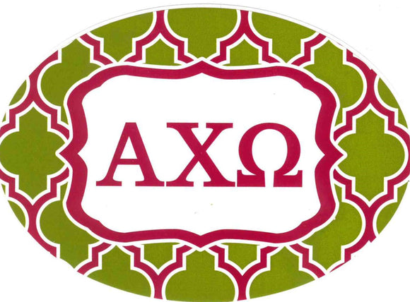 Oval Quatrefoil Decal - Alpha Chi Omega