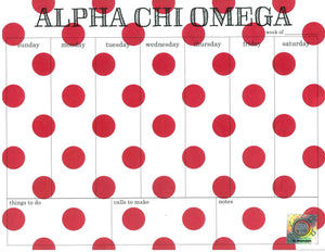 Polka Dot Weekly Notepad - Alpha Chi Omega