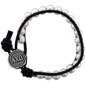 Freshwater Pearl and Black Leather Bracelet - Alpha Chi Omega