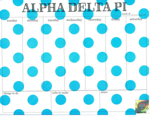 Polka Dot Weekly Notepad - Alpha Delta Pi