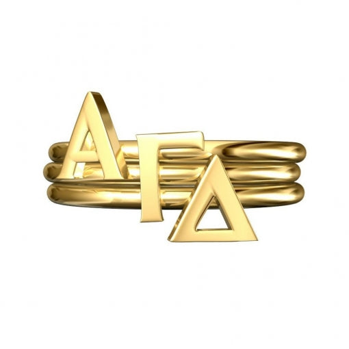Greek Letter Stack Rings - Alpha Gamma Delta