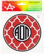 Quatrefoil Monogram Decal - Alpha Omicron Pi