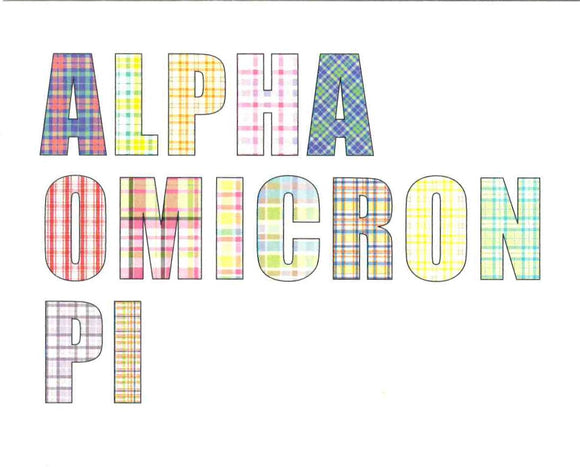 Plaid Letter Notecards - Alpha Omicron Pi