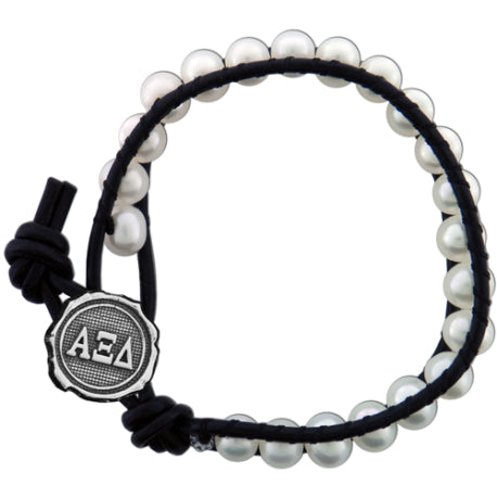 Freshwater Pearl and Black Leather Bracelet - Alpha Xi Delta