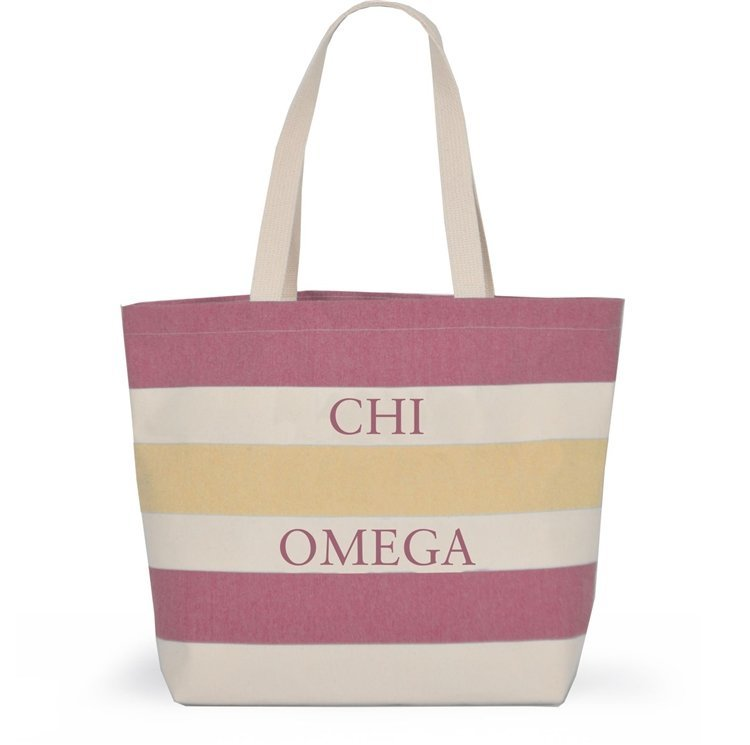 Striped Sorority Tote - Chi Omega
