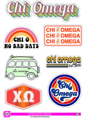 Retro Sticker Sheet - Chi Omega