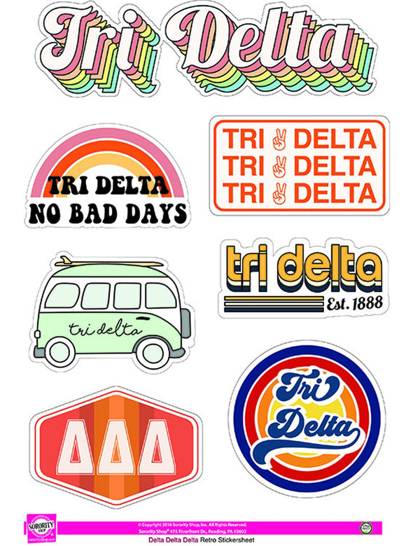Retro Sticker Sheet - Delta Delta Delta