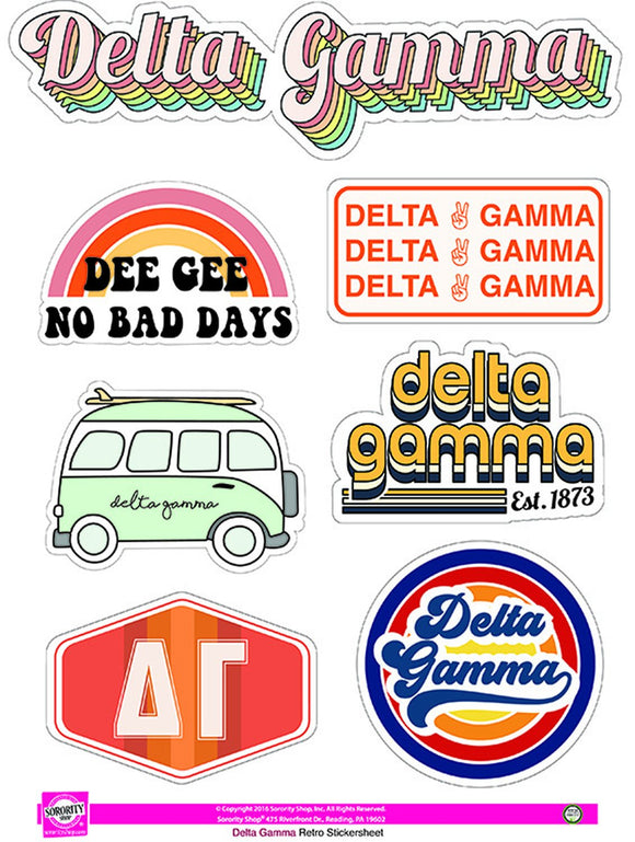 Retro Sticker Sheet - Delta Gamma