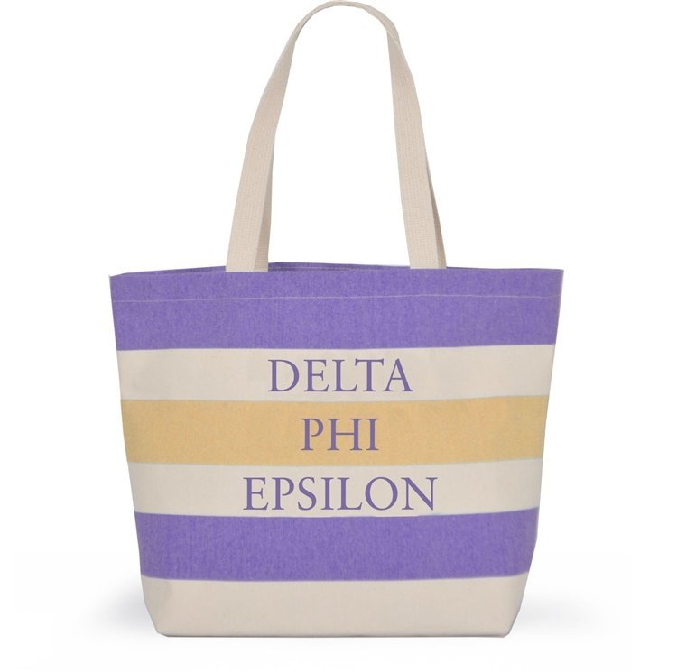 Striped Sorority Tote - Delta Phi Epsilon