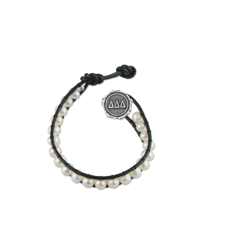 Freshwater Pearl and Black Leather Bracelet - Delta Delta Delta