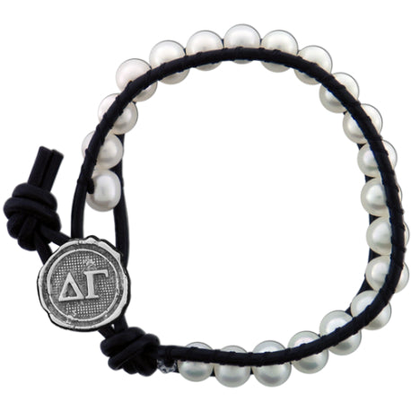 Freshwater Pearl and Black Leather Bracelet - Delta Gamma