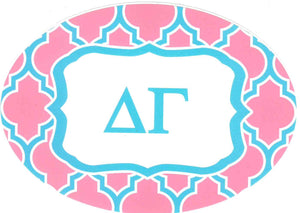 Oval Quatrefoil Decal - Delta Gamma