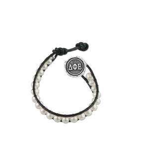 Freshwater Pearl and Black Leather Bracelet - Delta Phi Epsilon
