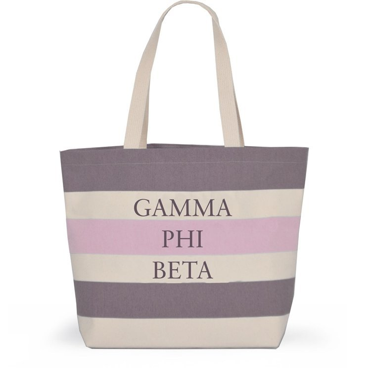 Striped Sorority Tote - Gamma Phi Beta