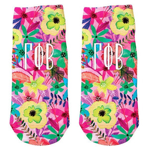 Floral Ankle Socks - Gamma Phi Beta