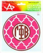 Quatrefoil Monogram Decal - Gamma Phi Beta