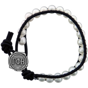Freshwater Pearl and Black Leather Bracelet - Gamma Phi Beta