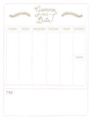 Weekly Schedule Pad - Gamma Phi Beta