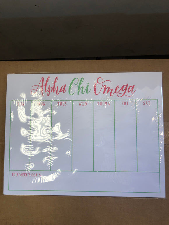 Weekly Schedule Pad - Alpha Chi Omega