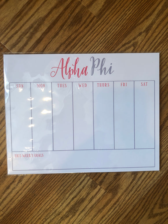 Weekly Schedule Pad - Alpha Phi