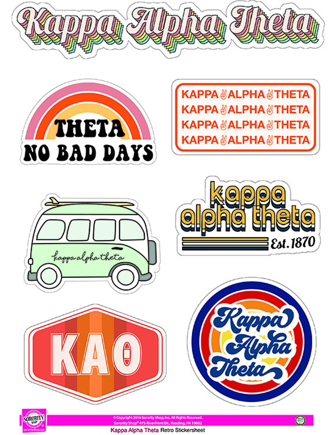 Retro Sticker Sheet - Kappa Alpha Theta
