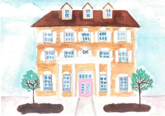 Sorority House Notecards - Phi Mu