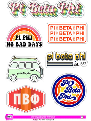 Retro Sticker Sheet - Pi Beta Phi