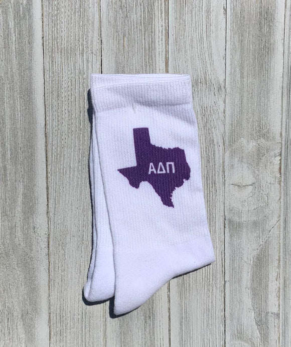 Purple Texas Socks - Alpha Delta Pi