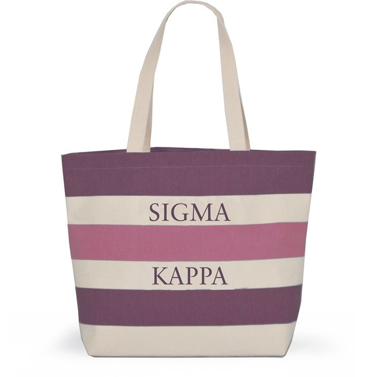 a3b7beb019 Striped Sorority Tote - Sigma Kappa - Brown Bag Etc