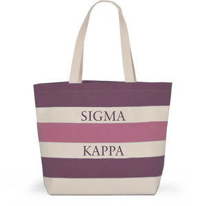Striped Sorority Tote - Sigma Kappa