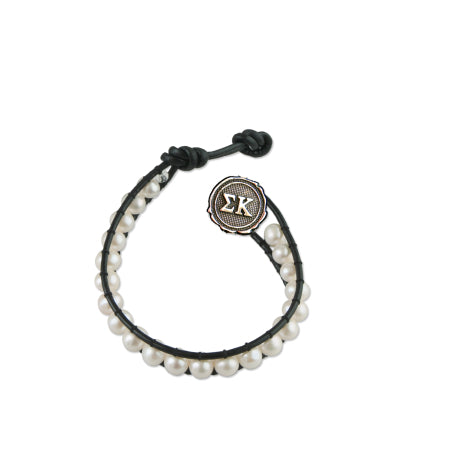 Freshwater Pearl and Black Leather Bracelet - Sigma Kappa