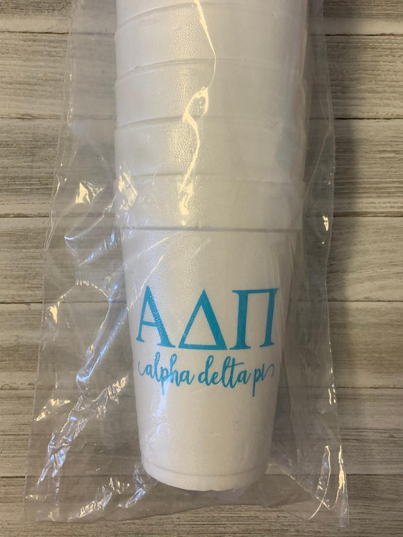 Styrofoam Cups - Letters and Name - Alpha Delta Pi