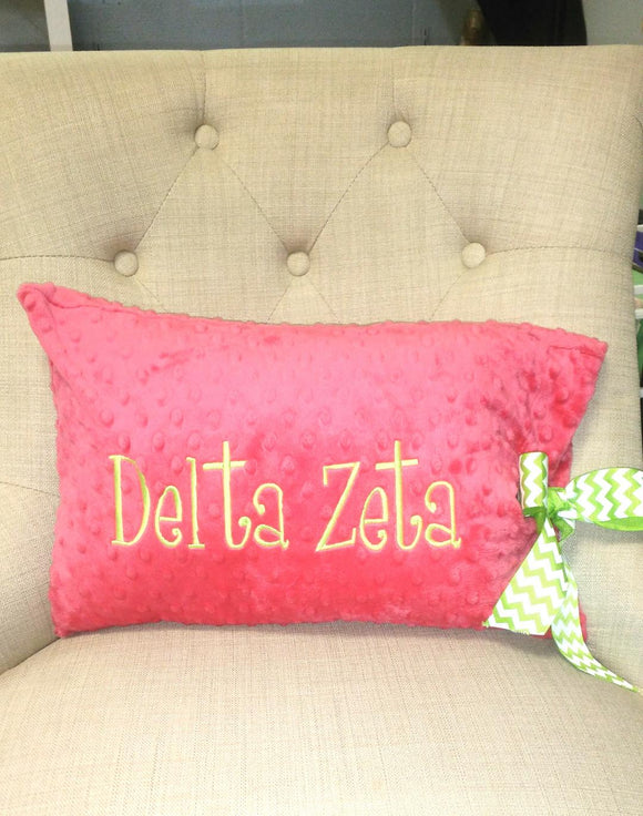 Minky Dot Rectangle Pillow - Delta Zeta