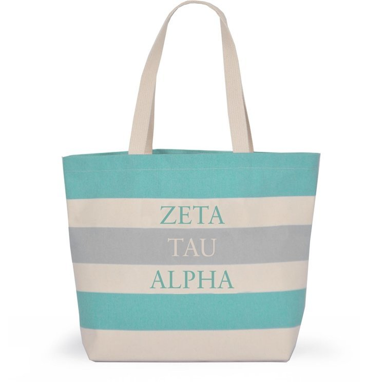 Striped Sorority Tote - Zeta Tau Alpha