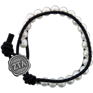 Freshwater Pearl and Black Leather Bracelet - Zeta Tau Alpha