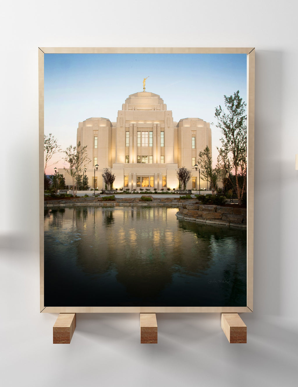 The temple can be a place of quiet personal reflection for members of the LDS faith, and this print by Meridian, Idaho artist Sheila Madine portrays that, even on the outside of the building. This print is available in a variety of formats for both home decor and gift giving. Not all formats available on website. temple+lds+meridian+idaho+temples+wedding+photographer+mormon+prints+art+madine+creative+group+canvas